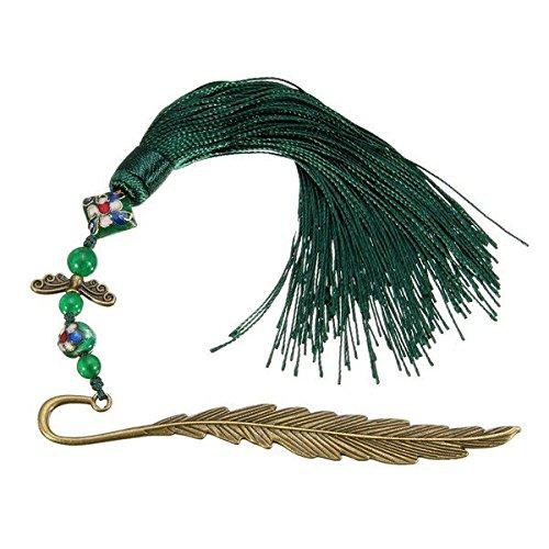 Pink Lizard Traditional Vintage Cloisonne Long Tassel Bookmark Pin Accessories Antique Brass