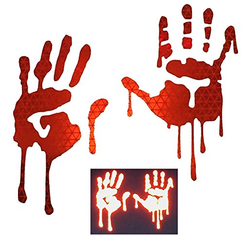 CustomTAYLOR33 RED High Intensity Grade Reflective Bloody Hands Decals for Helmets, Windscreens, Rear Windows, Bumper Stickers (3 inches (height))