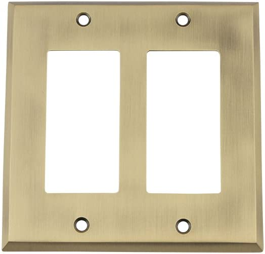 Nostalgic Warehouse 719702 New York Switch Plate with Double Rocker, Antique Brass