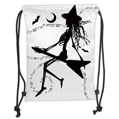 New Fashion Gym Drawstring Backpacks Bags,Music,Witch Flying on Electric Guitar Notes Bat Magical Halloween Artistic Illustration,Black White Soft Satin,Adjustable String Closure, ()