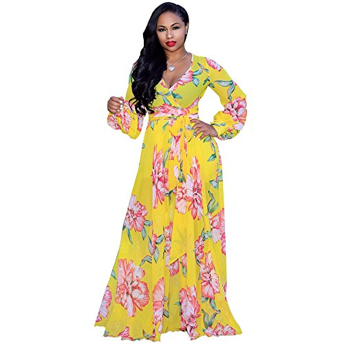 Nuofengkudu Womens Chiffon V-Neck Printed Floral Maxi Dress Long Sleeves Dresses High Waisted Belt Plus Size (Yellow) (Turquoise Maxi Dress Plus Size)