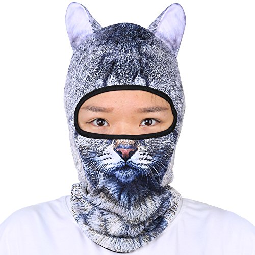 Oumers Animal Balaclava Face Mask with Ears Breathable Hood Face Shield for Outdoor Sports Cycling Motorcycle Ski Halloween Party Gift, One Size Fit Most (Women/Men)-Grey Color Cat