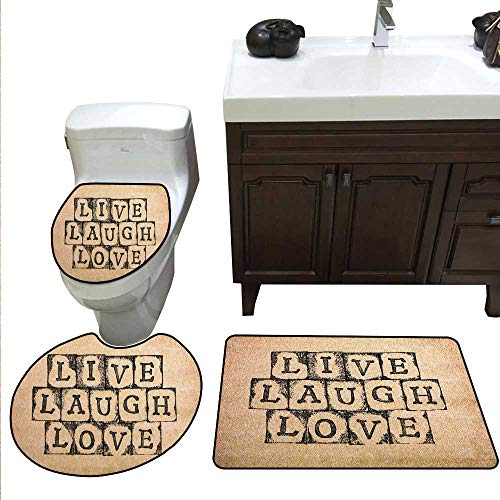 Live Laugh Love Decor Bath mat Set with Toilet Cover Black Alphabet Stamps on Aged Grungy Backdrop Vintage Print Toilet Carpet Floor mat Set Black Light -