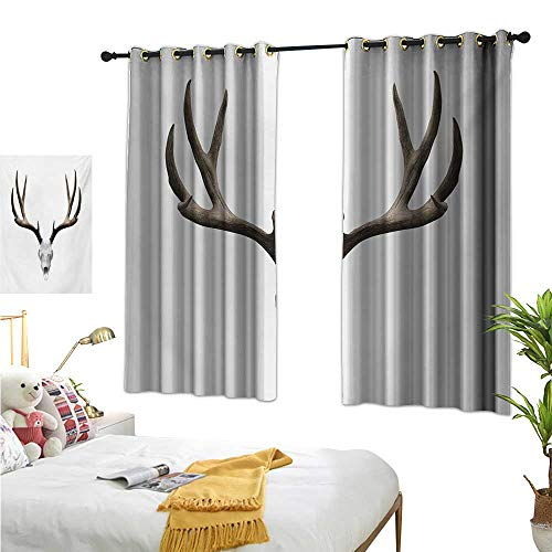 Navy Curtains Antlers,A Deer Skull Skeleton Head Bone Halloween Weathered Hunter Collection,Warm Taupe Pale Grey 72