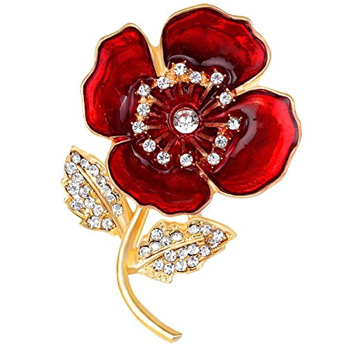 Funbase Rhinestone Drop Oil Poppy Flower Brooch Lapel Pin Wedding Xmas - Swag Pin Brooch