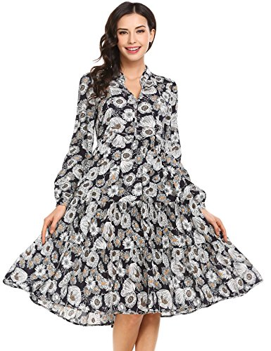 Asatr Women's Floral Print V Neck Long Sleeve Loose Long Maxi Dress (Tiered Print Dress Maxi)