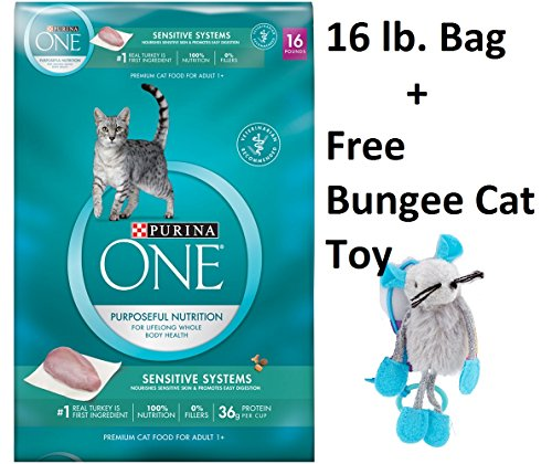 Purina ONE Sensitive Systems Adult Premium Cat Food (2 Bag - 16 lb + Free Toy) by Purina ONE