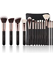 Pinceaux Maquillage Docolor Kit de 15pcs, Doux et Sans Cruaute, Poils Synthetiques, Design Or Rose, Pochette Elegante Cuir PU Incluse - Or Rose