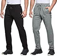 Men's 2 Pack Cotton Sweatpants Open Bottom Joggers Straight Leg Casual Loose Fit Running Pants with Zipper
