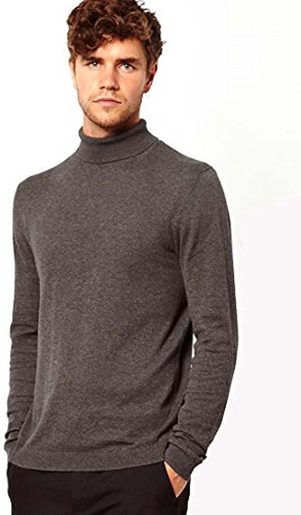 ELEGANCE1234 Mens Roll Neck Soft Cotton Long-Sleeve Tops