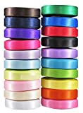 "Hipgirl 100 Yards 3/8"" Satin Fabric Ribbon Set For Gift Package Wrapping, Hair Bow Clips & Accessories Making, Crafting, Sewing, Wedding Decor, Boy Girl Baby Shower-20x5yd Double Face Solid"