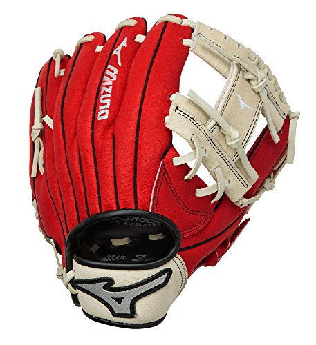 Mizuno Prospect Baseball Glove, Red/Cream, Youth/Kids, 11.5