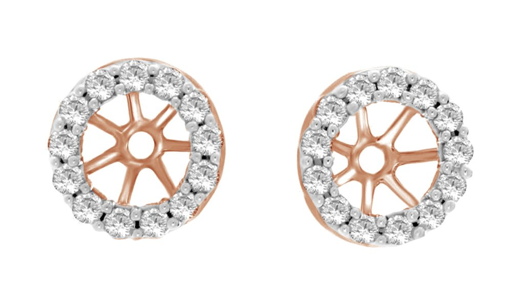 Round Cut White Cubic Zirconia Jackets Earrings In 14k Rose Gold Over Sterling Silver (0.05 cttw)