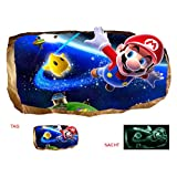 Startonight 3D Mural Wall Art Photo Decor Mario Flying Amazing Dual View Surprise Large 47.24 Inch By 86.61 Inch Wall Mural Wallpaper for Living or Bedroom Games Collection Wall Art (Multi 113)