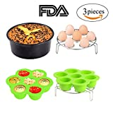 3pcs Instant Pot Accessories Set Kit Silicone Egg Bites Mold+Egg Steamer Rack+7inch Cake Pan Mold Insert Pans for 5 6 8 Quart Pressure Cooker Accessory