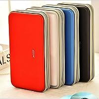 Portable Cd Wallet, Yeqoo 80 Disc DVD VCD DJ Storage Album Bag Hard Box Double side DVD storage case (Red)