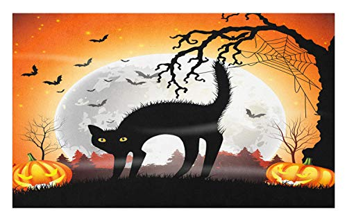 Lunarable Halloween Cat Doormat, Spooky Cat with Spider Web Tree and Pumpkins are Full Moon Night in Woods, Decorative Polyester Floor Mat with Non-Skid Backing, 30