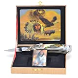 Wolf Knife & Lighter Indian, Gift Boxed
