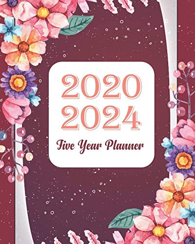 2020-2024 Five Year Planner: Red Floral Cover, Monthly Schedule Organizer, 60 Month Calendar Planner Agenda with Holidays