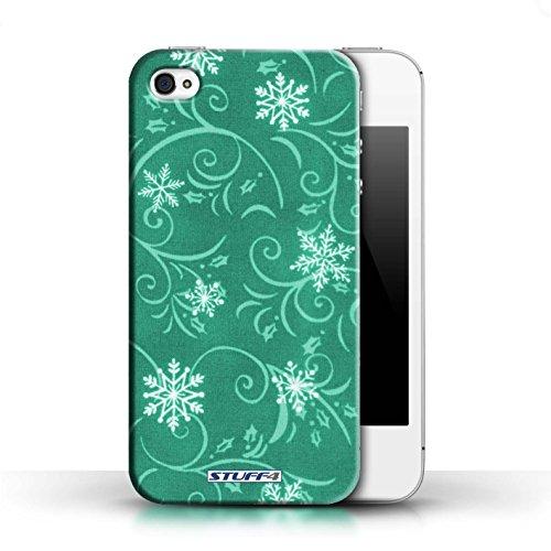 pour Apple iPhone 4/4S / Turquoise conception / Collection de Motif flocon de neige