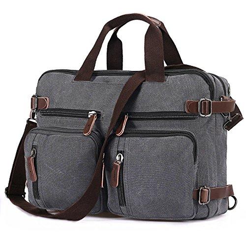 BAOSHA HB-22 Vintage Leinwand Herren Aktentasche Rucksäcke Arbeitstasche Umhängetasche Laptoptasche 14 Zoll Kaffee Grau passend für 14 ~ 15,6 Zoll Laptop