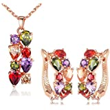 Yellow Chimes Sparkling Colors Flowerets Vine Swiss Cubic Zirconia 18K Rose Gold Plated Pendant with Earrings Set for Women
