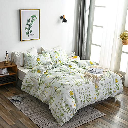 Argstar 3 Pcs Queen Floral Duvet Covers Set, Botanical Bedding Set, Yellow Flowers and Green Leaves Comforter Cover, Soft Lightweight Microfiber, for Men Women Boys and Girls (Yellow Comforter Light)