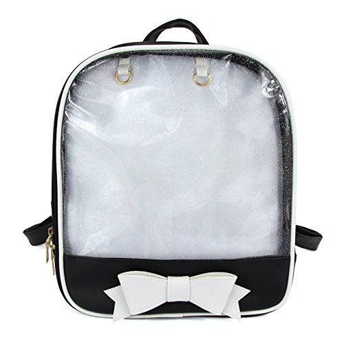 - SteamedBun Ita Bag Candy Leather Backpack Bowknot Transparent Beach Girls School Bag