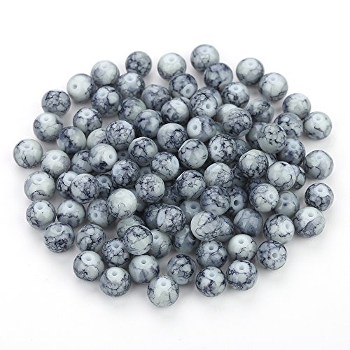 Navifoce Artistic Marble Design Various Color Round Loose Beads Lampwork Glass Bead for Jewelry Making Craft,8mm Diameter (Deep Grey) ()