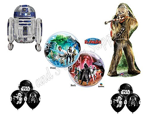 STAR WARS DELUXE Happy Birthday Balloons Decoration Supplies Chewbaca R2D2 Chewy by Anagram (Birthday Star Wars)