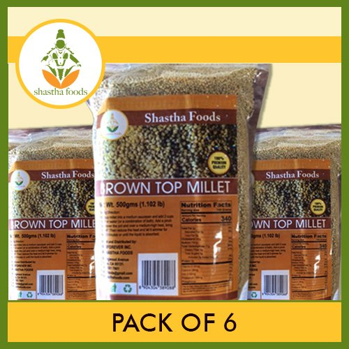 Brown Top Millet (Pack of 6) Each 500 Gms by Shastha Foods