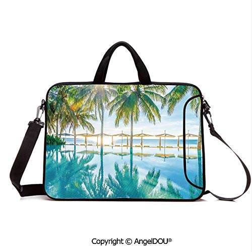 - AngelDOU Laptop Sleeve Notebook Bag Case Messenger Shoulder Laptop Bag Pool by The Beach with Seasonal Eden Hot Sunny Humid Coastal Bay Photography Compatible with MacBook HP Dell Lenovo Green Blue