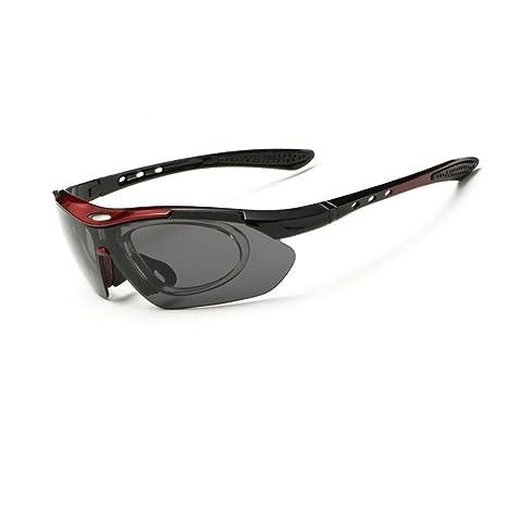 Asvert Lunettes de Soleils Polarisées Sportives avec 5 Verres Interchangeables UV400 Protection pour Vélo Ski Pêche Unisexe (Noir) UWPXjYFz42
