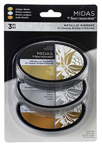 Crafter's Companion MPI3AMET Spectrum Noir Midas Ink Pads 3/Pkg-Antique Metals