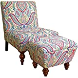 HomePop Susan Upholstered Armless Accent Chair and Ottoman Set, Multicolored Paisley