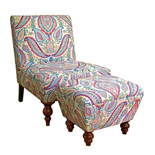 (HomePop K6381-A727 Susan Upholstered Armless Accent Chair and Ottoman Set, Medium, Multicolored Paisley)