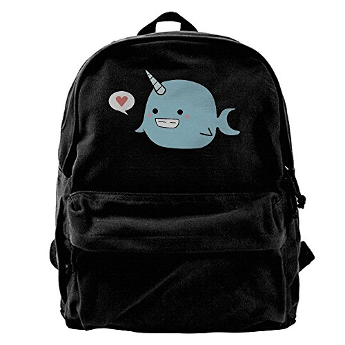 Unisex Unicorn Narwhal Backpack College Student School Bag Canvas Bags Vintage Zipper Backpacks