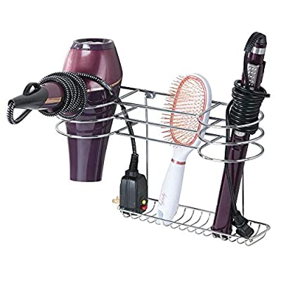 mDesign Bathroom Wall Mount Metal Hair Care & Styling Tool Organizer Storage Basket for Hair Dryer, Flat Iron, Curling Wand, Hair Straighteners, Brushes - Steel Wire