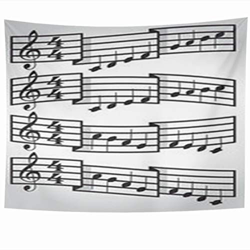 Alfredon Wall Tapestry Hanging, 80 x 60 Inches Page Musical Scale Bars Notes Music Key Score Sheet Note Old Tapestries, Decor Home Bedroom Living Room Dorm