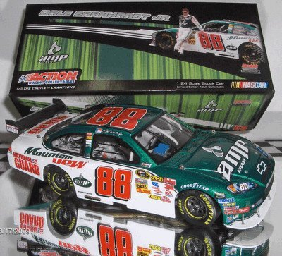 2009 Action Racing Collectables ARC Dale Earnhardt Jr #88 Green & White AMP Energy 1/24 Scale Diecast Opening Hood, Trunk, Roof Flaps Car of Tomorrow COT Rear Wing Front Splitter