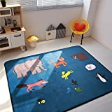 Cusphorn Large Kid Rug For Toy Cars,Safe Nursery Rug Kids Rug With Non-Slip Backing, 59''x 78'' Road Rug Play Mat For Kidrooms,Playroom and Classroom (Style14)
