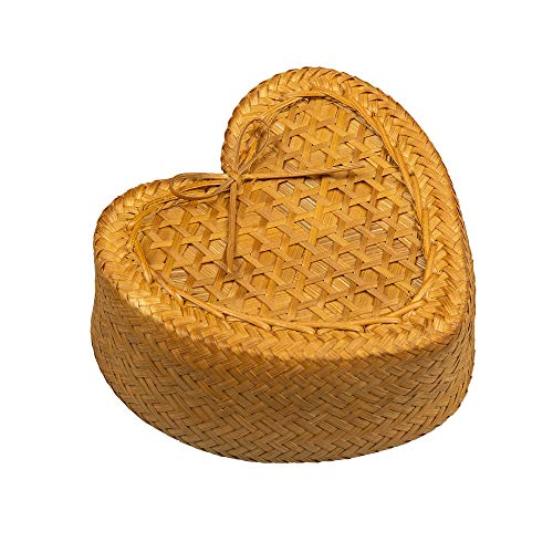 WD- Thai Heart shape Kratip Natural weave Handmade bamboo sticky rice basket Serving Steamer Kitchen 4 inch for Home,restaurant or Cookware to Keep Sticky Rice Warm.