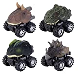 Pull Back Vehicles,4 Pack Dinosaur Vehicles Toys with Big Tire Wheel for 3-14 Year Old Toys Vehicles Dinosaur Car, Pull Back And Go Car Toy Play Set