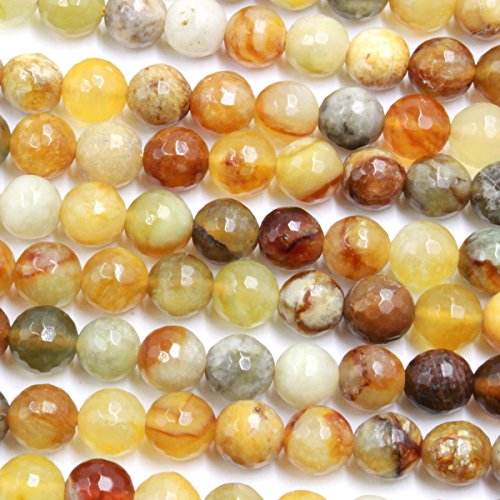 Faceted Flower (Fashiontrenda Faceted Natural Flower Jade Round Gemstones Beads for DIY Jewelry Making (8mm))