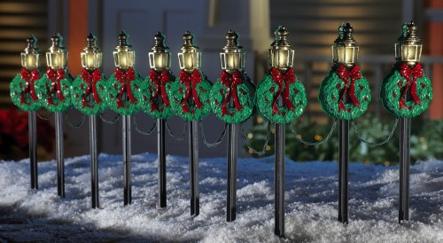 Christmas Lamp Posts Pathway Stakes  Set of 10