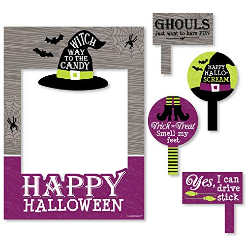 Big Dot of Happiness Happy Halloween - Witch Party Photo Booth Picture Frame & Props - Printed on Sturdy Material -