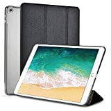 Moonlux Case for iPad 9.7 2018/2017,Superfine Fiber Trifold Adjustable Stand with Auto Sleep/Wake Function,Translucent Frosted Back Cover Compatible for Apple iPad 9.7 A1893 A1954 A1822 A1823,Black
