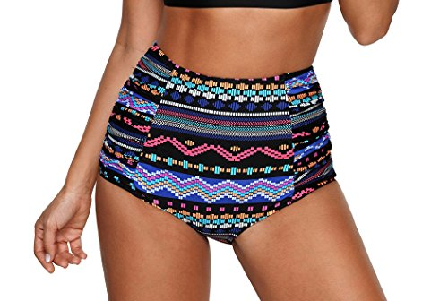 - PinUp Angel Tribal/Plaid / Solid/Floral Vintage Retro High Waisted Bikini Bottom-BX030-BKT2
