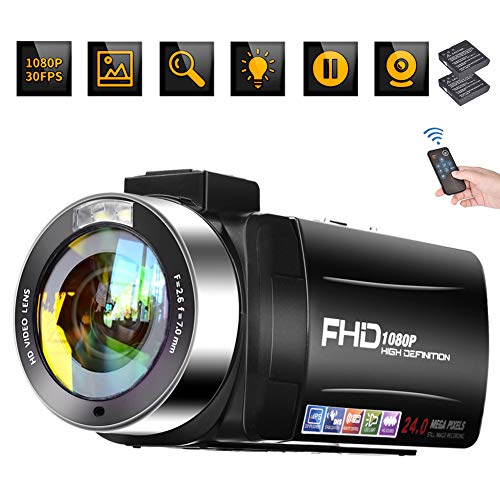 Video Camera Camcorder, Digital Vlogging Camera Recorder for YouTube Full HD 1080P 30FPS 24MP 18X Digital Zoom with Remote Control 3.0 inch 270 Degree Rotation Screen with 2 Batteries