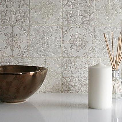Moroccan Tile Grey Beige Cream White Full Roll